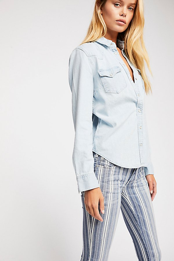 Slide View 4: Denim Super Striped Flare Jeans