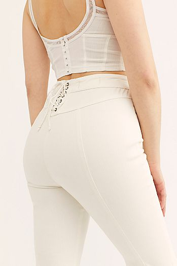 d71edc0ad6b83 CRVY Super High-Rise Lace-Up Flare Jeans