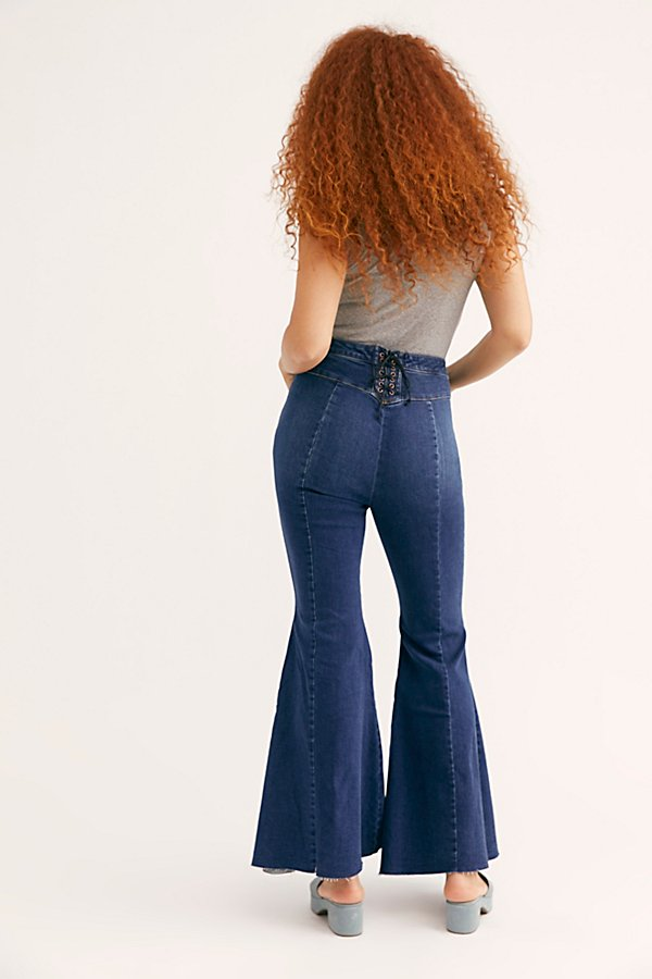 Slide View 4: CRVY Super High-Rise Lace-Up Flare Jeans