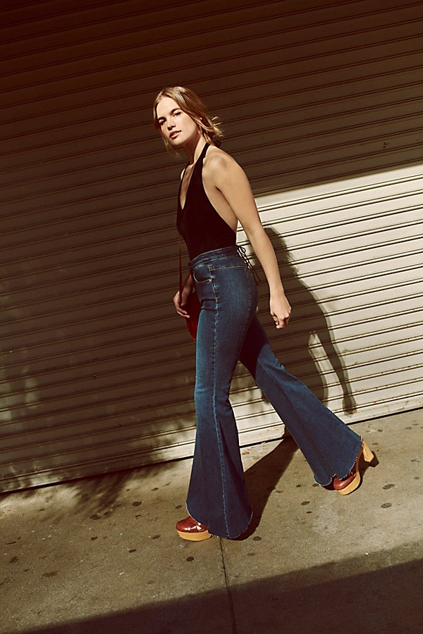Slide View 7: CRVY Super High-Rise Lace-Up Flare Jeans