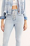 Thumbnail View 3: CRVY High-Rise Lace-Up Skinny Jeans