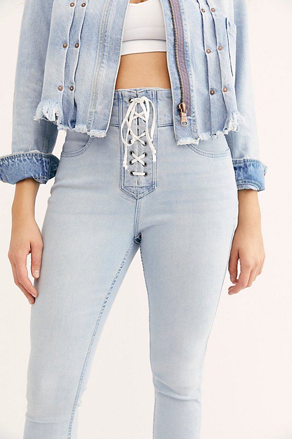 Slide View 3: CRVY High-Rise Lace-Up Skinny Jeans