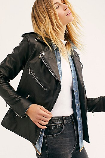 Oversized Moto Leather Jacket