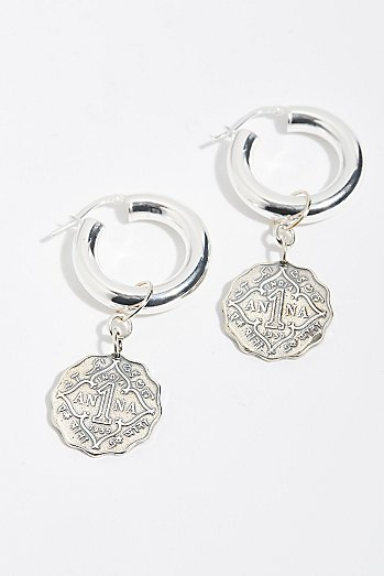 Anna Coin Hoop Earrings