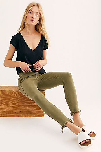 Official Website Free People Green Corduroy Skinny Pants Size W 26 Super Cute! Jeans