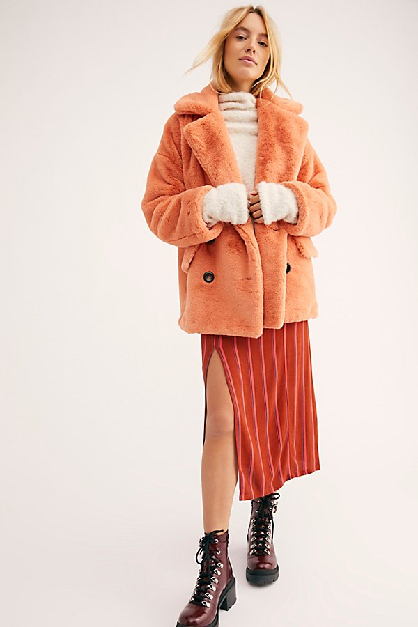 Slide View 1: Solid Kate Faux Fur Coat