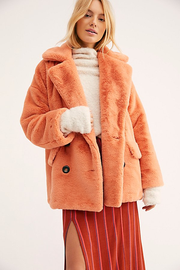 Slide View 2: Solid Kate Faux Fur Coat