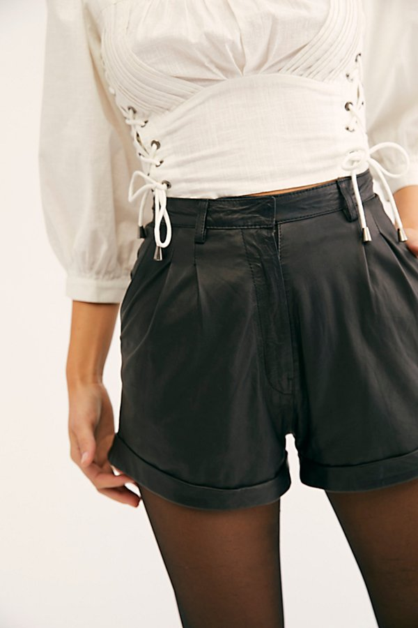 Slide View 3: Sophie Leather Shorts