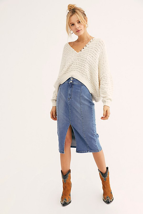 Slide View 1: Maddie Denim Midi Skirt