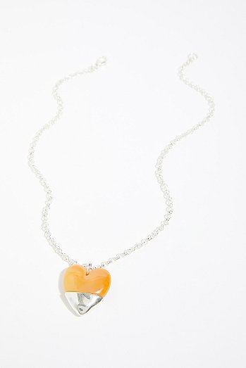 Warm Heart Resin Pendant Necklace