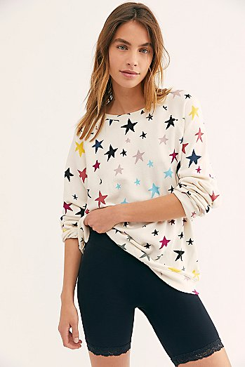 Oversized Raglan Pullover With Stars