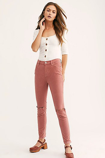 Cord Split Knee Skinny Pants