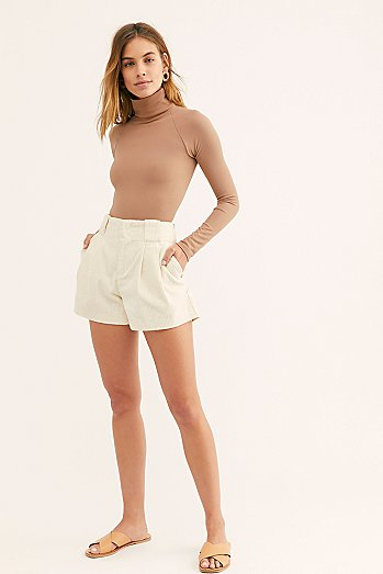 Wide-Leg Cord Shorts