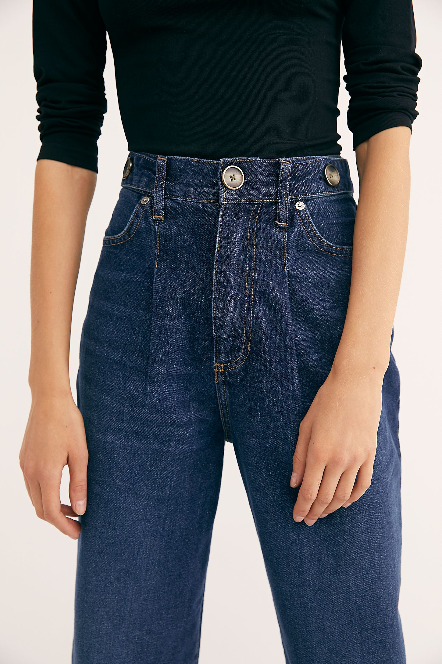60680e609ec Slide View 3  Pleated Straight-Leg Jeans