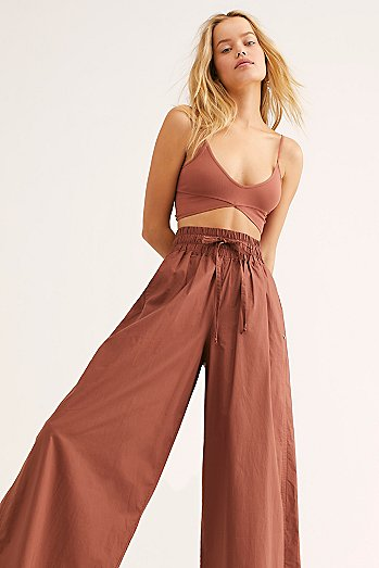 Crispy Cotton Wide-Leg Pants