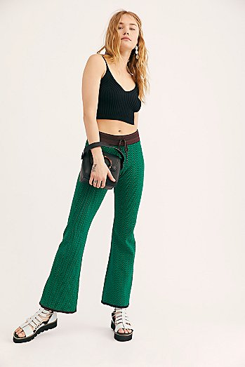 Knitted Zig Zag Flare Trousers