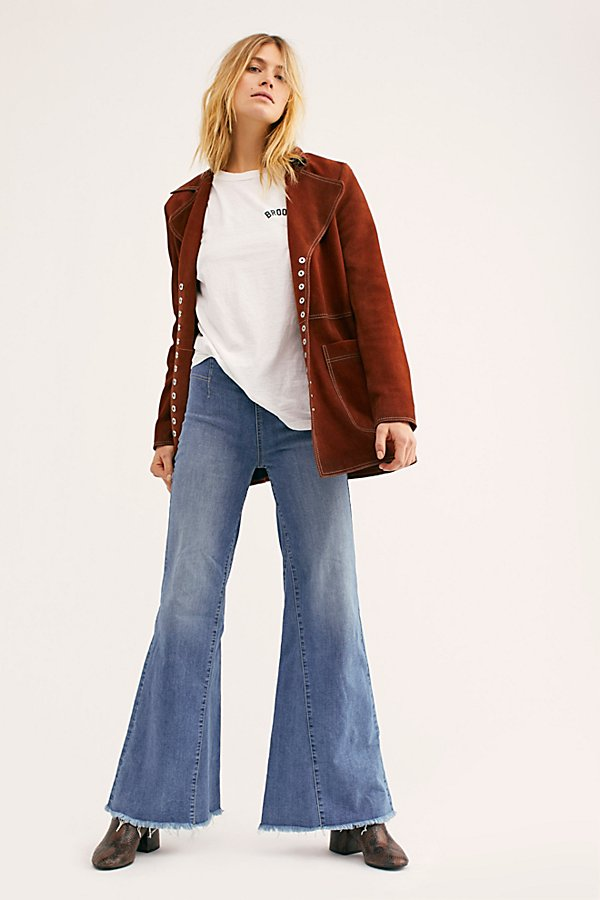 Slide View 1: Drapey A-Line Pull-On Bell Bottom Jeans