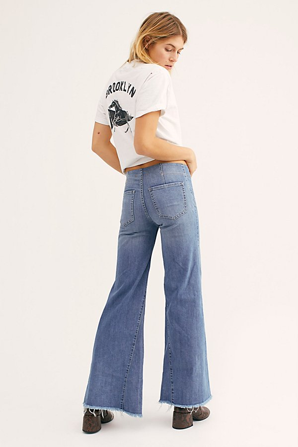 Slide View 2: Drapey A-Line Pull-On Bell Bottom Jeans