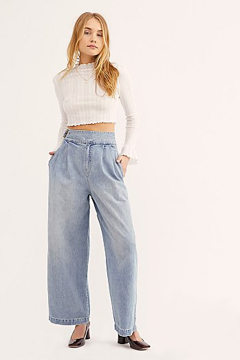 Side Buckle Wide Leg Jeans