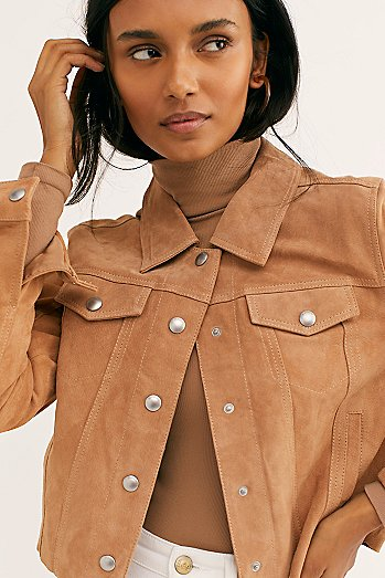 Cropped Suede Trucker Jacket