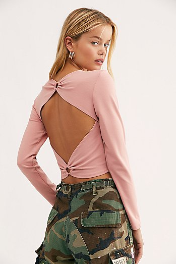 Open Back Long Sleeve Crop Top