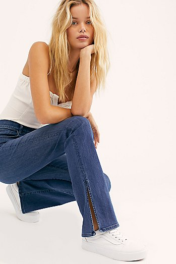 3x1 High-Rise Split Seam Bell Jeans