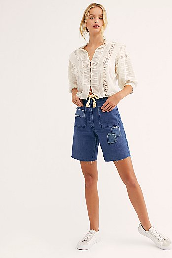 Sailors Cutoff Denim Shorts