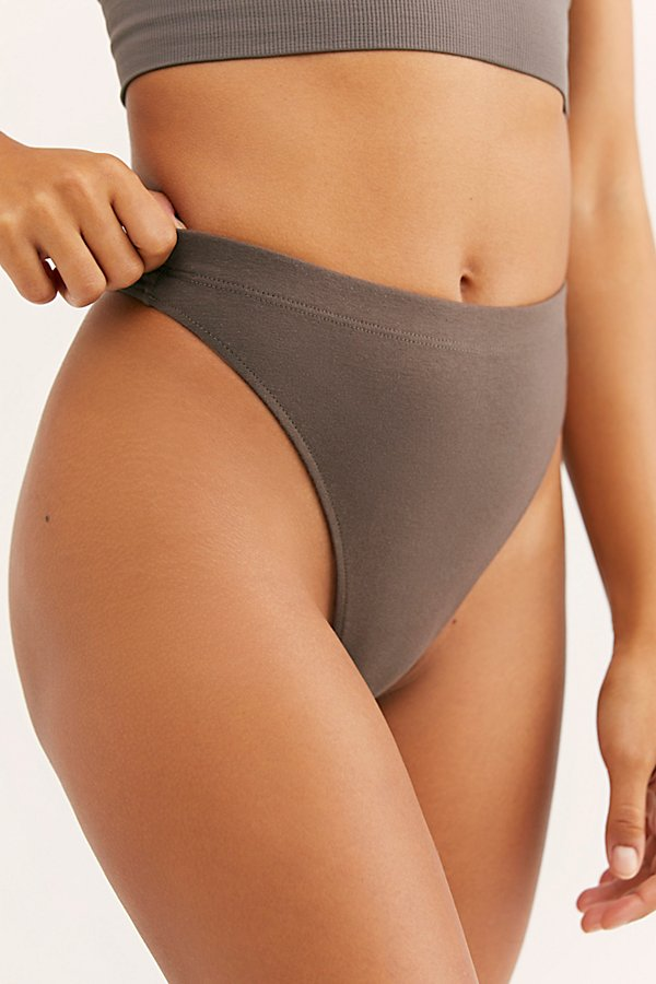 Slide View 3: Cotton Lycra Hi-Waist Thong
