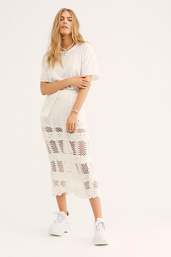Slide View 1: Natalie Crochet Frill Midi Skirt