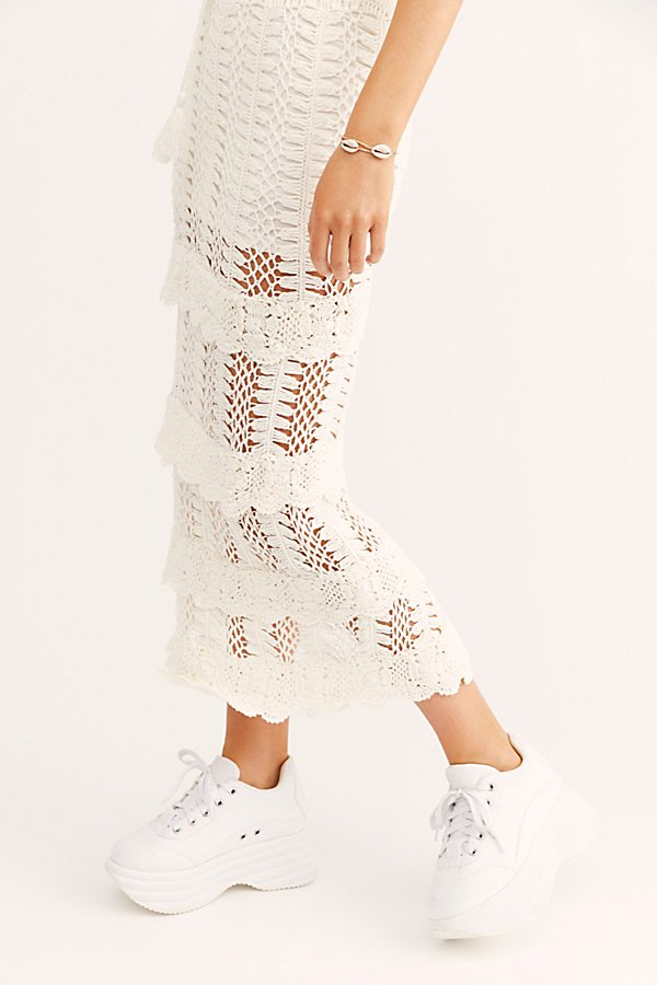Slide View 3: Natalie Crochet Frill Midi Skirt