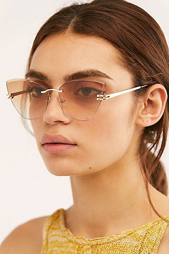 Alluring Rimless Cat Eye Sunglasses
