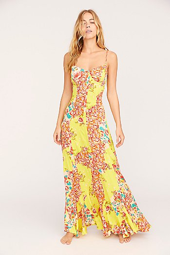 Under the Moon Light Patchwork Maxi Dress