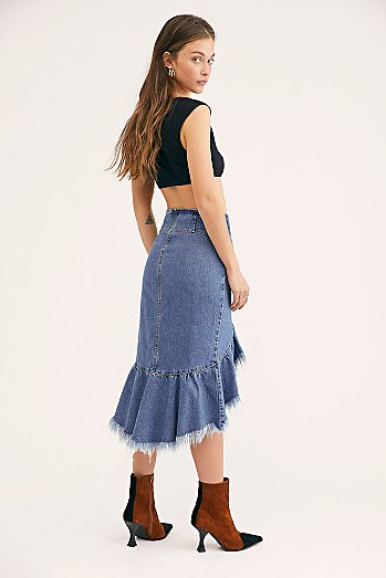 Raw Denim Midi Skirt