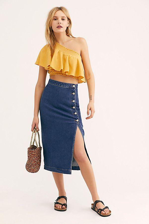 c3732f071 Slide View 1: Jasmine Buttoned Midi Skirt