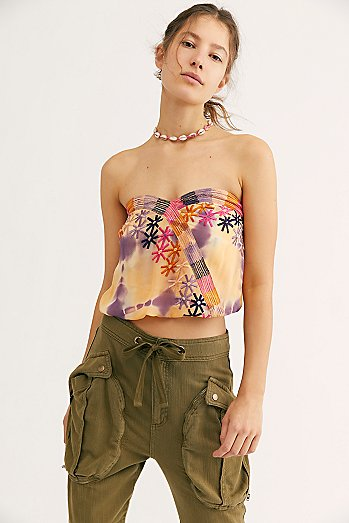 Feel Your Heartbeat Embroidered Tube Top