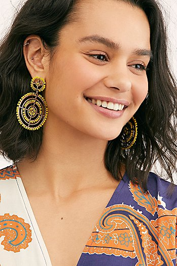 Solar Beaded Hoop Earrings