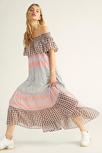 Something Real Plaid Maxi Dress