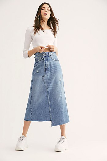 Reworked Denim Midi Skirt