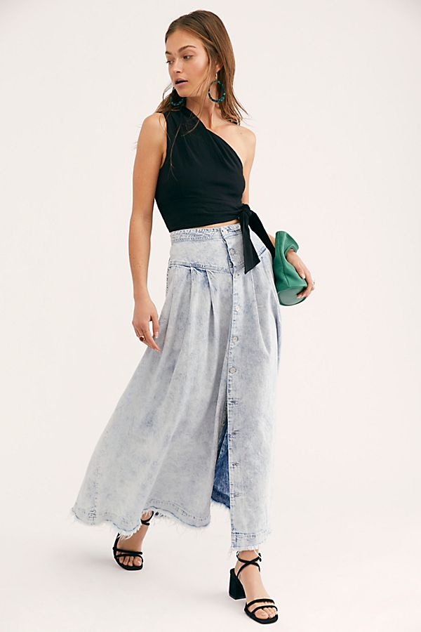 harmonious colors special discount of choose best Pleated Denim Maxi Skirt