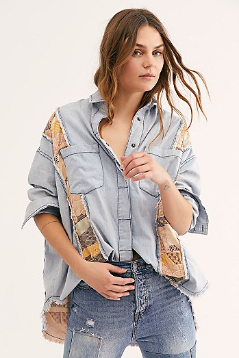 We The Free Rainbow Row Denim Buttondown