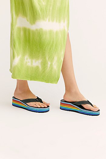 Rainbow Wedge Thong Sandal