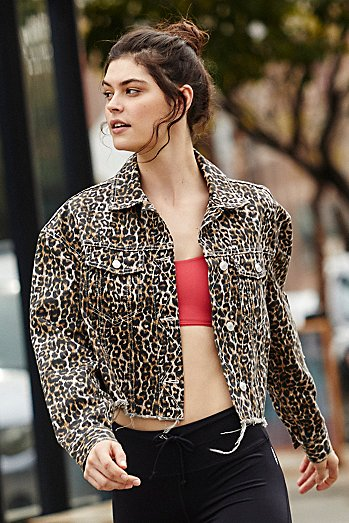 Cheetah Printed Cropped Denim Jacket