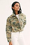 Thumbnail View 1: Camo Printed Cropped Denim Jacket