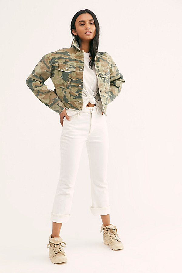Slide View 3: Camo Printed Cropped Denim Jacket