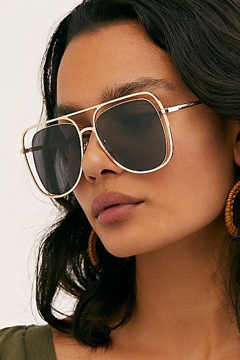 7d85e9d12e Stevie Oversized Aviator Sunglasses