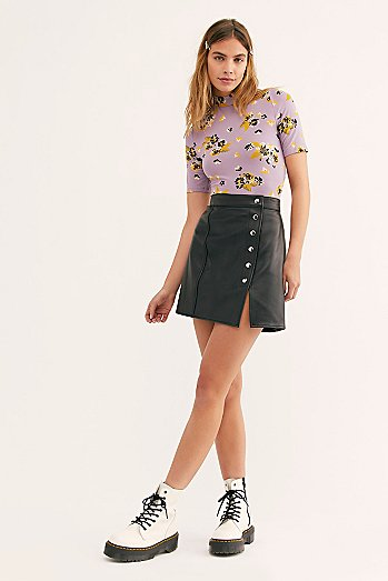 Understated Leather Mini Skirt