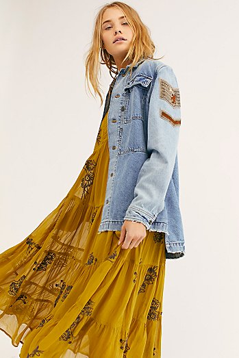 Embellished Military Denim Jacket