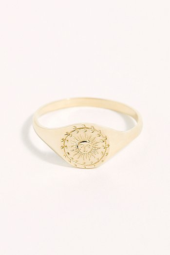 14k Sun Moon Signet Ring