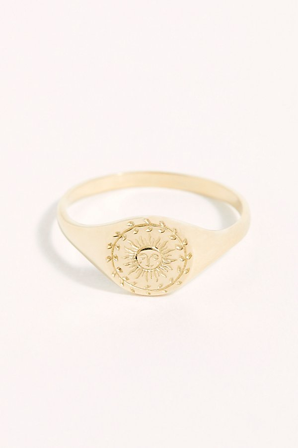 Slide View 1: 14k Sun Moon Signet Ring