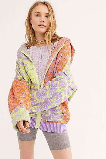 e958131bbb1 In Bloom Patterned Sweater Hoodie